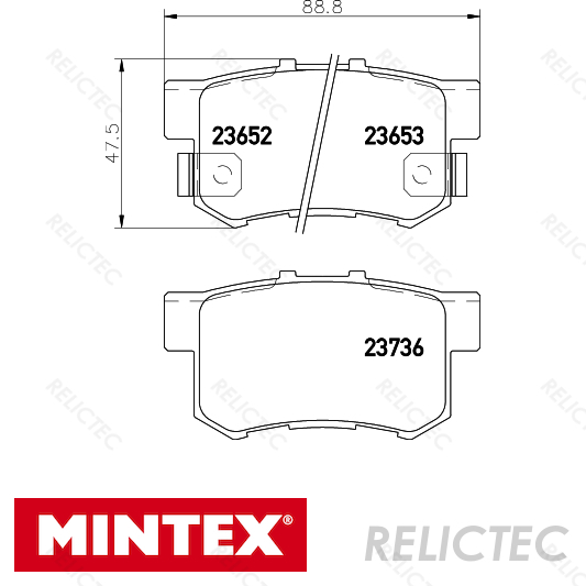 Fits Honda FR-V 2.0 Genuine Mintex Rear Brake Pad Fitting Kit