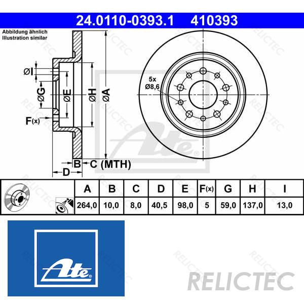 Set of 2 ATE 24.0110-0393.1 Brake Disc Rotors